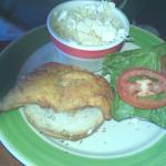 Fish sandwich with cole slaw