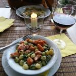 Delicious dinner -- gnocchi with salmon & spinach