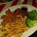 Gamberi fritti e pollo