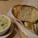 Cream of spinach soup and bread basket