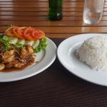 Chicken with garlic and pepper at hotel restaurant.