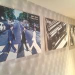 fab four prints in hallway