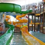 Two slides in the water park area.