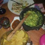 Great guacamole and cheeses quesadilla