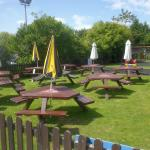 Part of the large beer garden