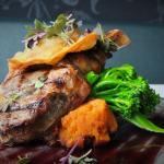 300g Grilled Veal Rib Eye with Crispy Mushroom Ravioli, Broccolini, Sweet Potato & Red Wine Sauc
