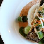 Baked Barramundi with Red Curry, Bok Choy, Bean Sprouts  & Crispy Tofu