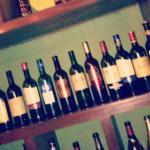 vintage wine bottles on display