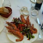 Prawns (top tip, the bottle of wine you see in the photo was one of the best I've ever had!)