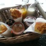 The breakfast hamper delivered to our room