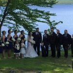 A photo of our wedding party on Wilson Pond