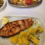 Salmon steak and potatoes