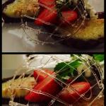 one of their brilliant lemon tarts with chocolate base, raspberry sauce