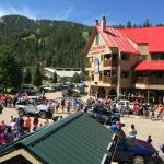 Good view for the July 4th parade - balcony at front of lodge