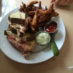 Eggplant fries and over- stuffed Ruben