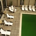 Un pigeons mort au bord le piscine, couleur Moselle svp !