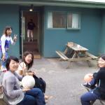 Japanese girls enjoying Christchurch at Big Kiwi House, New Zealand