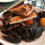 Black Linguine with Mussels, Chorizo and fresh cherry tomatoes