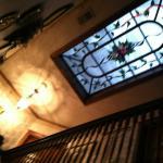 Stained glass window in ceiling of 2nd floor/floor of 3rd floor