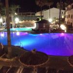 Nice pool views night and day. Onsite mini market. ABBA cover singers. The small clothes washer
