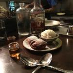 Bourban ice cream w/coffee toffee and brochette doughnuts