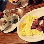 egg beaters, turkey bacon, yogurt, fruit and granola