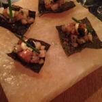 kombu chip Cobia Tartar with Tobiko caviar on top