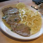 Vitello Al Limone ~  veal medallions  in a lemon butter sauce with fettuccine alfredo $15.00
