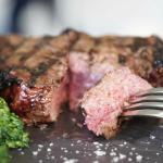 100% natural grass fed Cape Grim Prime Rib Steak with broccolini sauteed with garlic and chilli