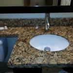 Updated bathroom counter, sink and faucet