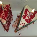 red velvet and rainbow pastry
