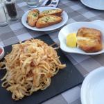 Fried onion, saganaki chees