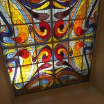 Stained glass above stairwell