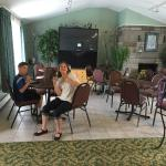 Common area of the motel where you check in