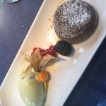 Warm chocolate cake with lemon-basil ice and other never disappointing delicacies
