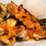 Seafood Combination Glazed with a Tropical Fruit Sauce