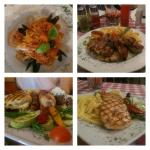 Spaghetti Frutti di Mare, Grilled lamb chops, Viktor's plate and Grilled salmon