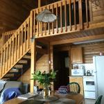 Main room and stairs to loft -  Glacier Loft (Cabin A)
