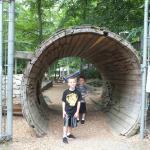 The giant log entrance to the slide park.