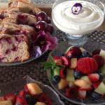 Fruit salad with locally grown cherries and cherry almond loaf