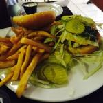 Grilled chicken sandwich, which was good, but a little dry, Burger and  grilled fish was great!
