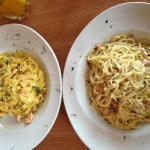 Tagliatelle con Salmone /Spaghetti Carbonara