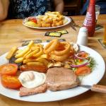 Big mixed grill (scampi in background)