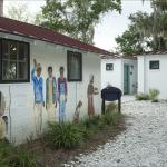 Museum buildings with portraits of local residents