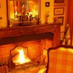Flambée dans la cheminée du Salon.