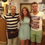Naomi with Nikos and his son! What a place! Yamas!