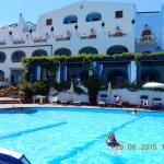 The swimming pool and hotel