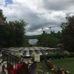Grilled chicken sandwich, turkey club, and views of Copake Lake and greens from deck.