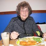 Mum enjoying her fish and chips