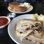 quesadilla with black bean chili and tofu reuben